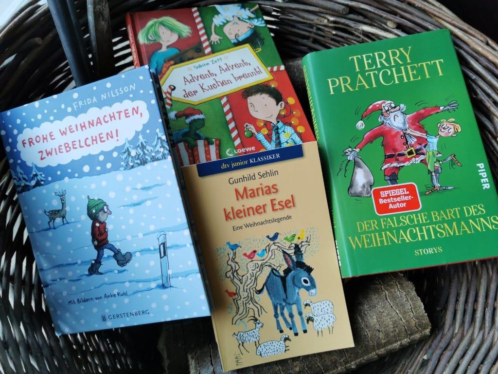 Die Bücher Frohe Weihnachten, Zwiebelchen!, Advent, Advent, der Kuchen brennt!, Marias kleiner Esel, Der falsche Bart des Weihnachtsmanns